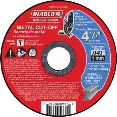 Diablo Type 1 4-1/2 In. x 0.040 In. x 7/8 In. Metal Cut-Off Wheel
