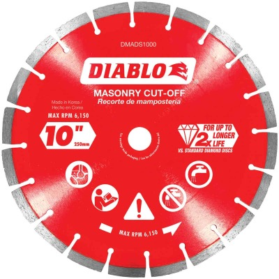 Diablo 10 In. Segmented Rim Dry/Wet Cut Diamond Blade