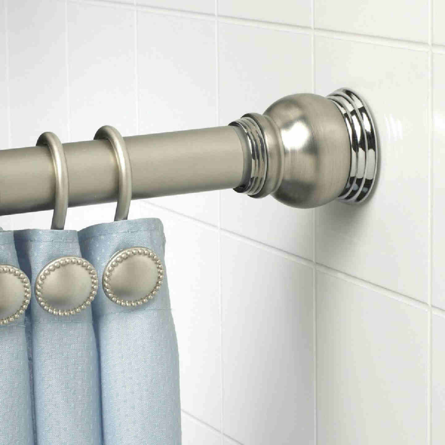 Zenith Straight 72 In. Adjustable Tension Finial Shower Rod in Satin Nickel Image 1