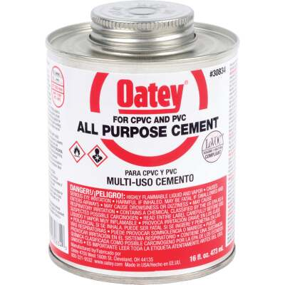 Oatey 16 Oz. Heavy Bodied Clear Multi Purpose Cement CPVC and PVC
