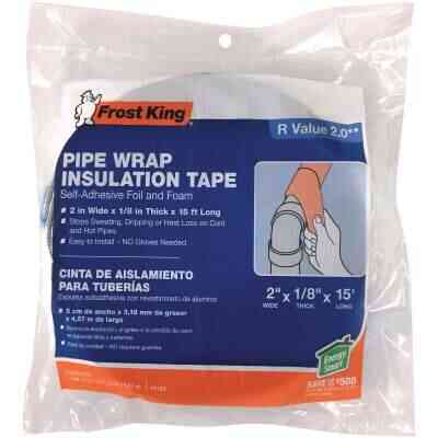 Frost King 1/8 In. x 2 x 15 Ft. In. Wall Self-Adhesive Foil and Foam Pipe Insulation Wrap
