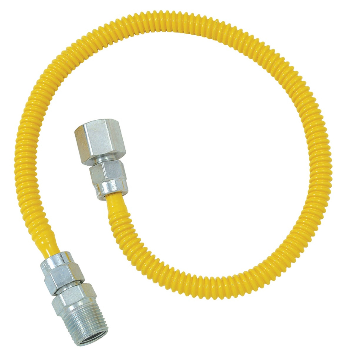 Dormont 3/8 In. OD x 36 In. Coated Stainless Steel Gas Connector, 1/2 In. FIP x 1/2 In. MIP (Tapped 3/8 In. FIP) Image 1