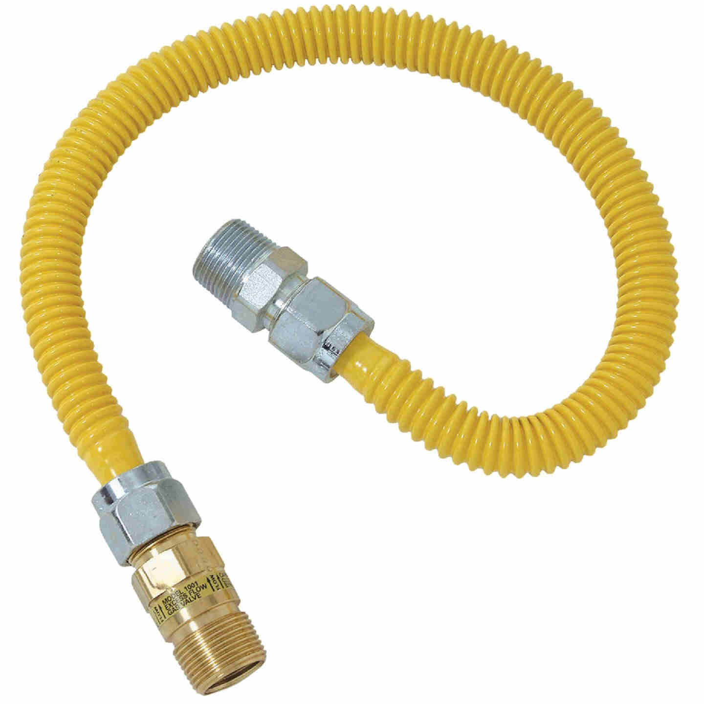 Dormont 5/8 In. OD x 48 In. Coated Stainless Steel Gas Connector, 1/2 In. MIP (Tapped 3/8 In. FIP) x 1/2 In. MIP SmartSense Image 1