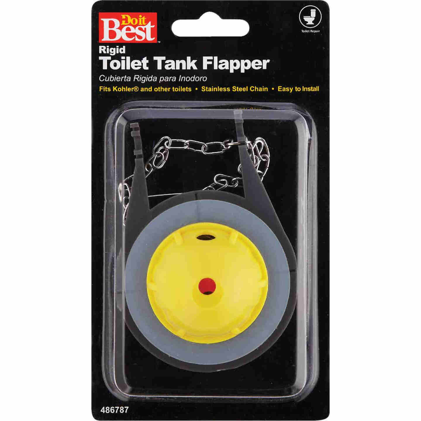 Do it Best Fits Kohler Wellworth and Others Rigid Plastic Toilet Flapper with Stainless Steel Chain Image 2