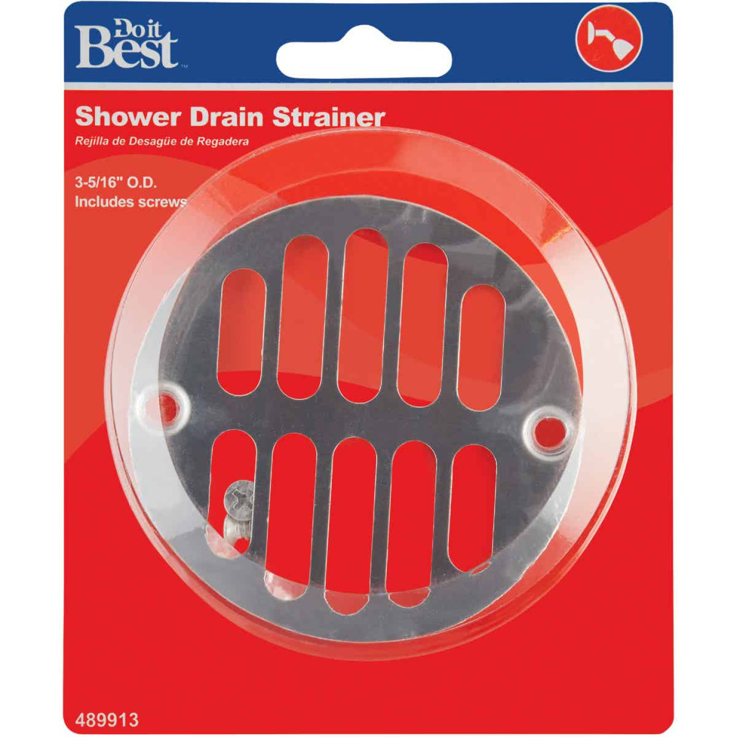 Do it 3-5/16 In. Chrome Grill Shower Drain Strainer Image 2