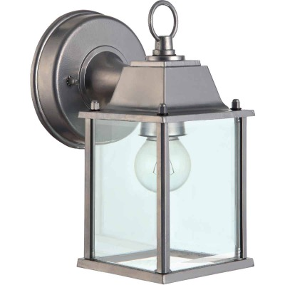 Home Impressions 100W Incandescent Brushed Nickel Lantern Outdoor Wall Light Fixture