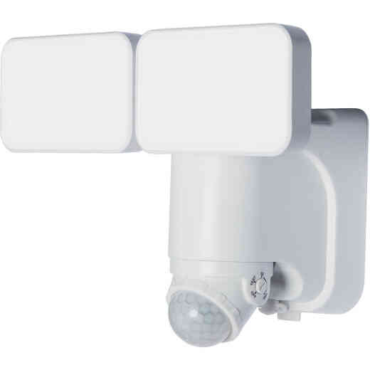 Heath Zenith White Motion Activated Twin Head LED Solar Powered Security Light Fixture, 600-Lumen
