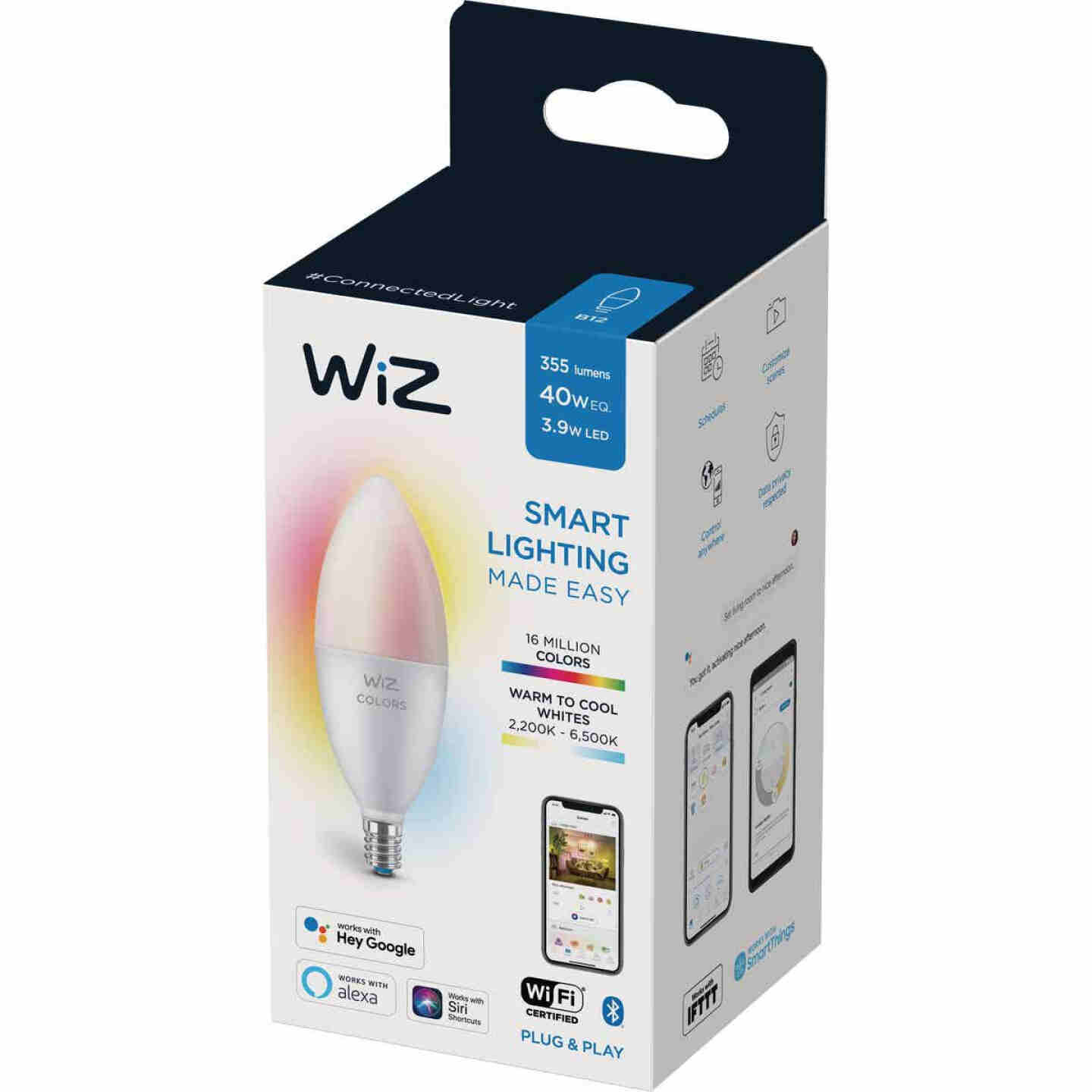 Wiz 40W Equivalent Color Changing B12 Candelabra Dimmable Smart LED Decorative Light Bulb Image 1