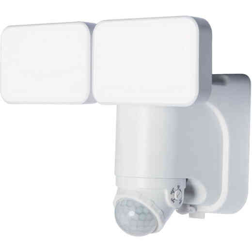 Heath Zenith White Motion Activated Twin Head LED Solar Powered Security Light Fixture, 1000-Lumen