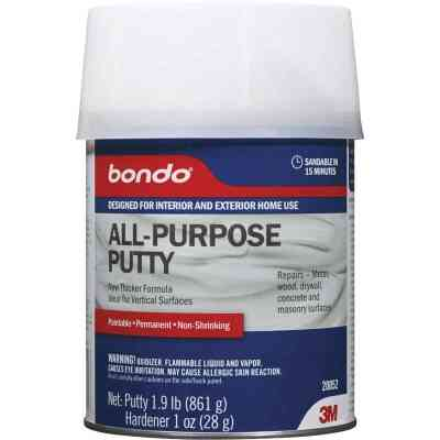 3M Bondo 1 Qt. Gray All-Purpose Masonry, Metal, Plastic and Wood Putty