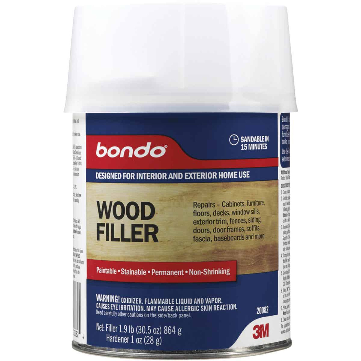 3M Bondo 1 Qt. Brown Wood Filler w/Hardener Image 1