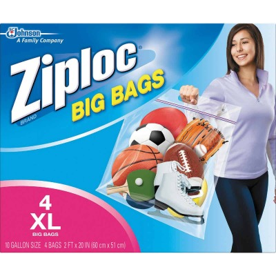 Ziploc Big Bag 10 Gallon XL Storage Bags, (4-Count)