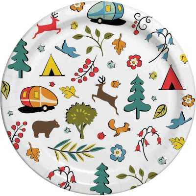 Camp Casual 10 In. Eco-Friendly Into the Woods Design Paper Plates (24 Count)