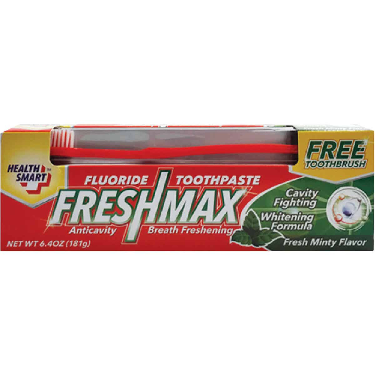 Health Smart FreshMax 6.4 Oz. Mint Flouride Toothpaste with Toothbrush Image 1