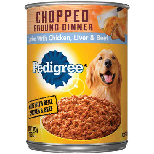 Pedigree Traditional Chopped Ground Dinner Combo with Chicken, Liver, & Beef Wet Dog Food, 13.2 Oz.