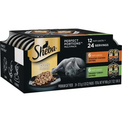 Sheba Perfect Portions Cuts in Gravy Roasted Chicken/Tender Turkey Adult Wet Cat Food (12-Pack)