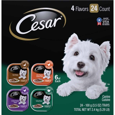 Cesar Classic Loaf Duck/Oven Roasted Chicken/Grilled Chicken/Turkey Variety Adult Wet Dog Food (24-Pack)