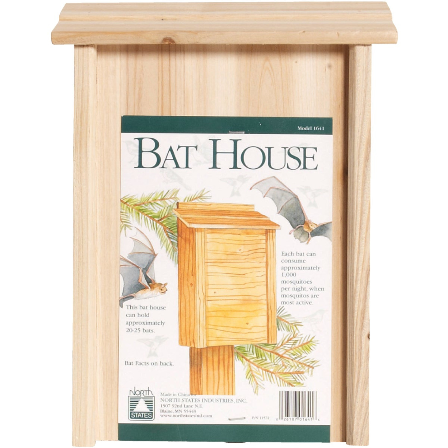 North States 8 In. W. x 15 In. H. x 4.75 In. D. Redwood Bat House Image 3