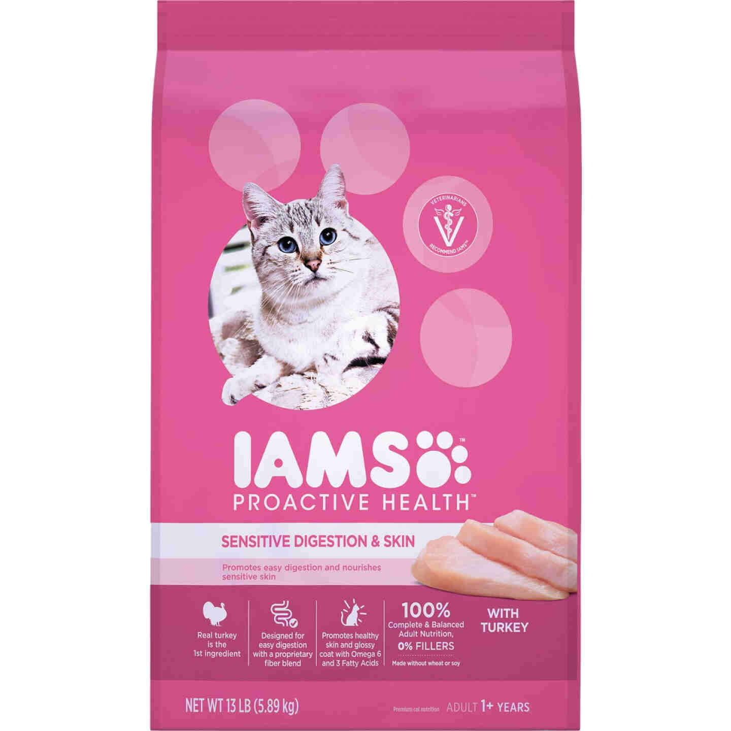 Iams Proactive Health Sensitive Digestion & Skin Formula 13 Lb. Turkey Flavor Adult Dry Cat Food Image 1