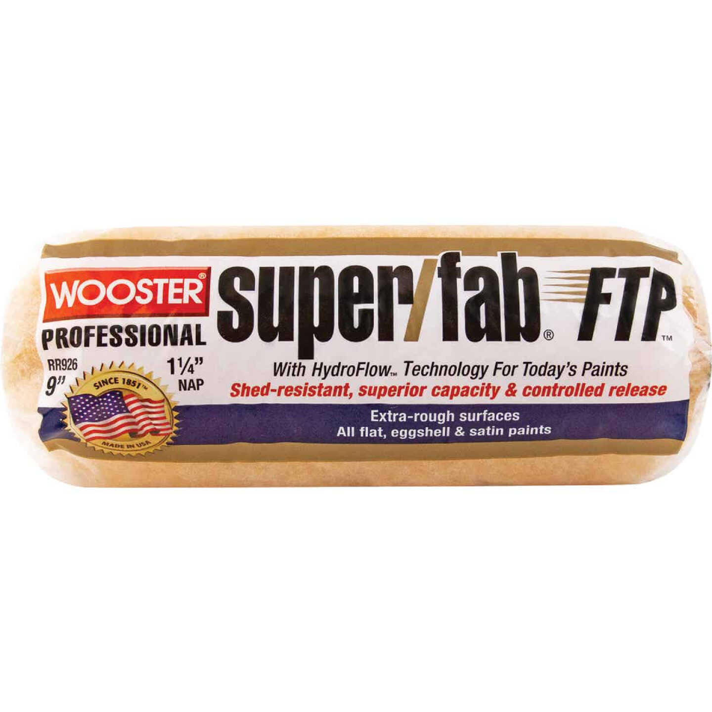 Wooster Super/Fab FTP 9 In. x 1-1/4 In. Knit Fabric Roller Cover Image 1