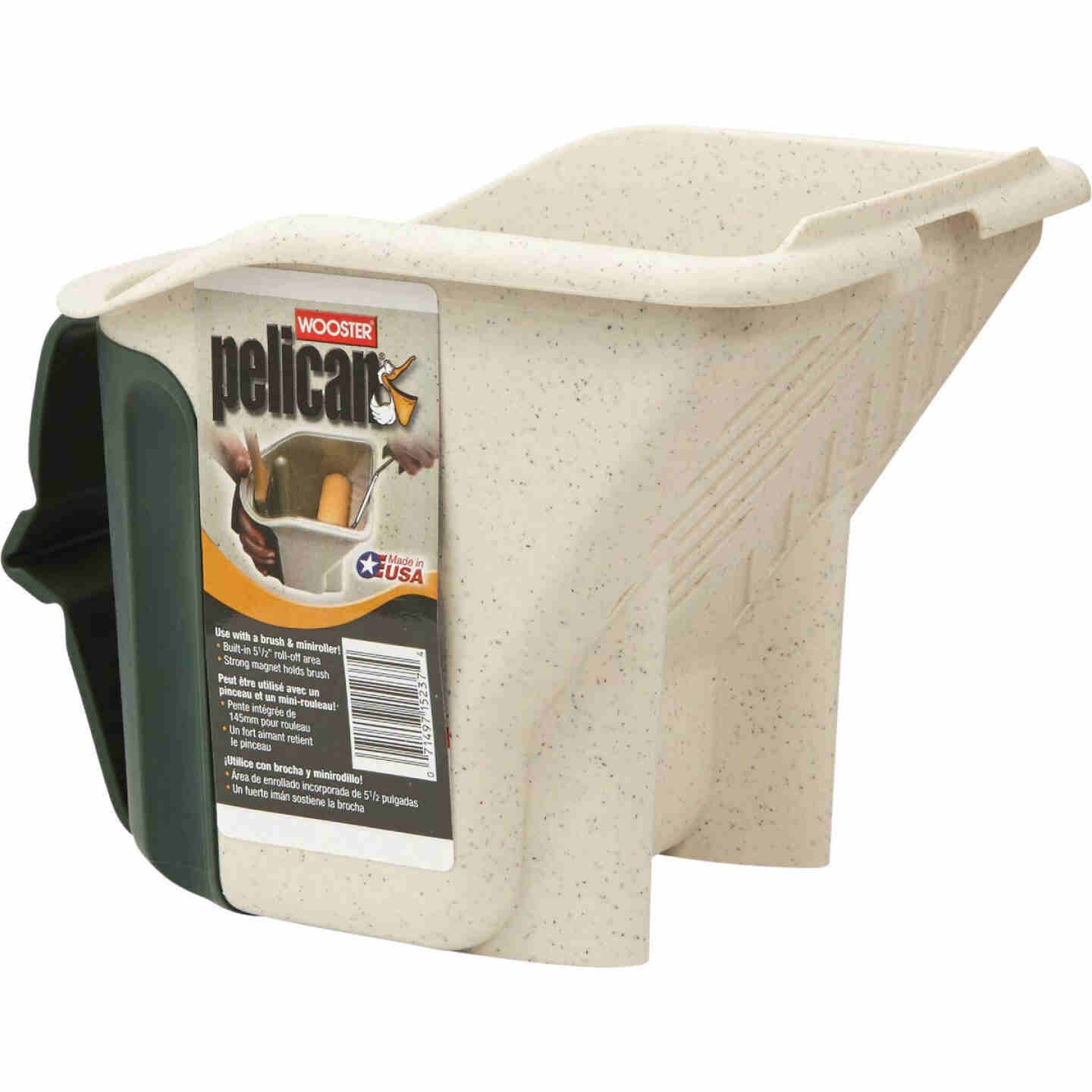 Wooster Pelican 1 Qt. Green & White Painter's Bucket with Magnetic Brush Holder Image 1