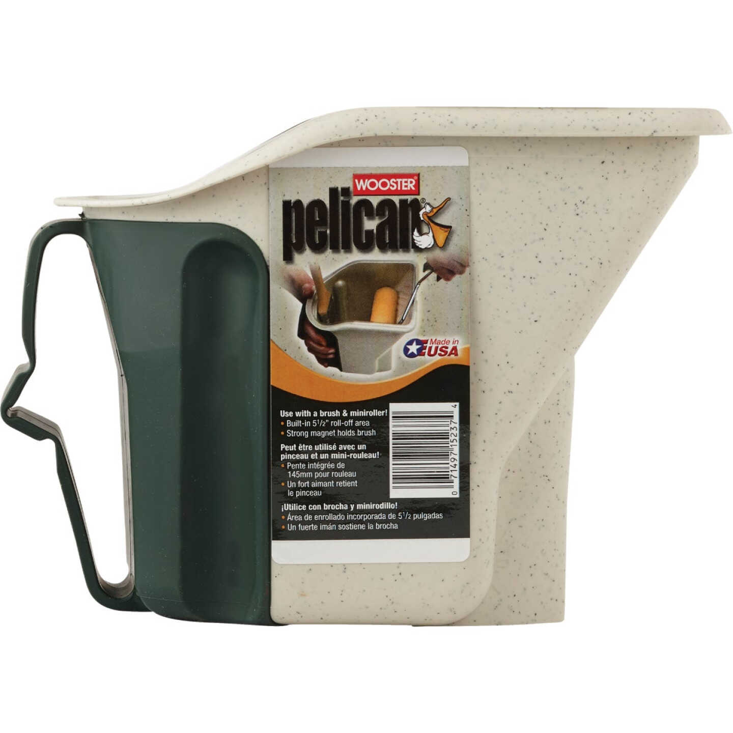 Wooster Pelican 1 Qt. Green & White Painter's Bucket with Magnetic Brush Holder Image 2