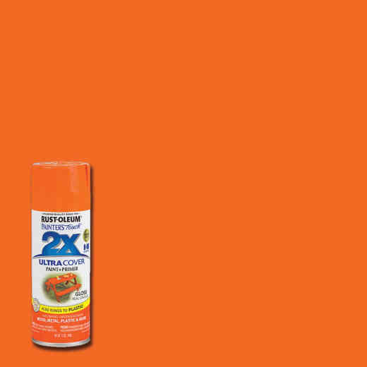 Rust-Oleum Painter's Touch 2X Ultra Cover 12 Oz. Gloss Paint + Primer Spray Paint, Real Orange