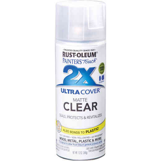 Rust-Oleum Painter's Touch 2X Ultra Cover Clear 12 Oz. Matte Finish Spray Paint, Clear